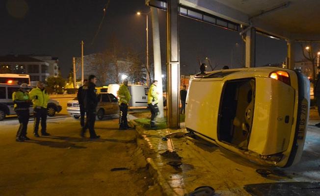 Bursa'da kazadan burnu kanamadan çıktı