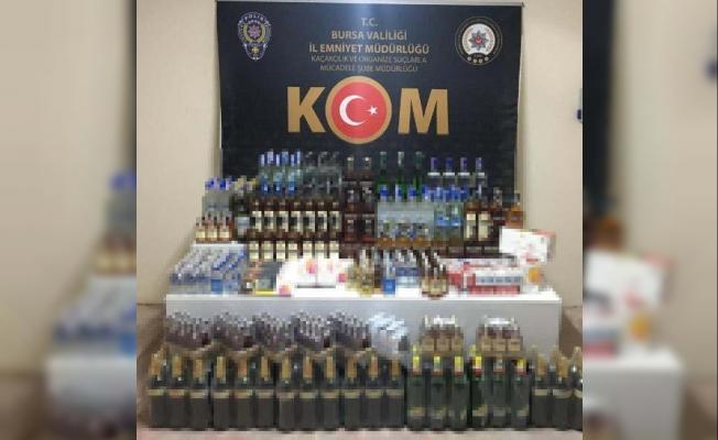 Bursa'da kaçak içki ve sigara yakalandı