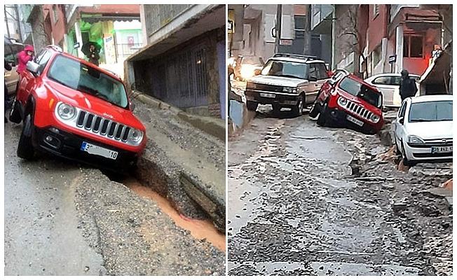 Yağmurda asfalt çöktü!