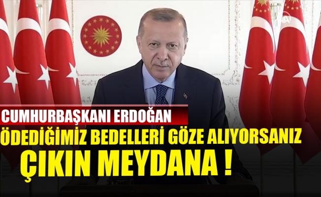 Cumhurbaşkanı Erdoğan: Ödediğimiz bedelleri göze alıyorsanız çıkın meydana!
