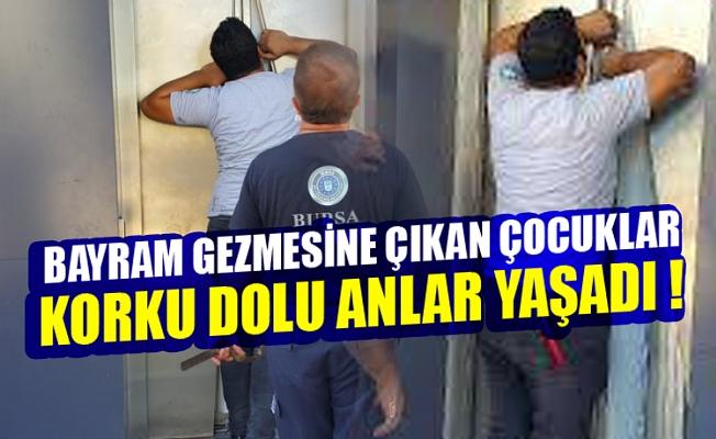 Bursa'da bayram gezmesine çıkan çocuklar asansörde mahsur kaldı