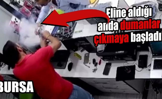 Bursa'da telefonun bataryası böyle patladı