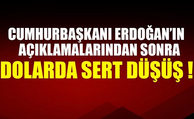 Başkan Erdoğan'ın açıklamaları sonrası dolar 8 liranın altına düştü.