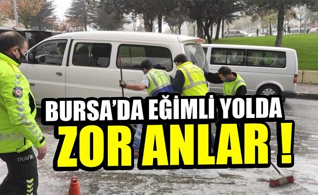Bursa'da eğimli yola dökülen motor yağı zor anlar yaşattı