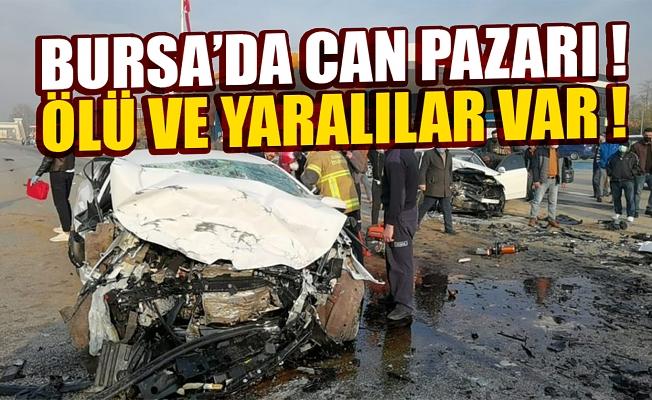 Bursa İnegöl'de otomobiller kafa kafaya çarpıştı: 1 ölü, 4 yaralı