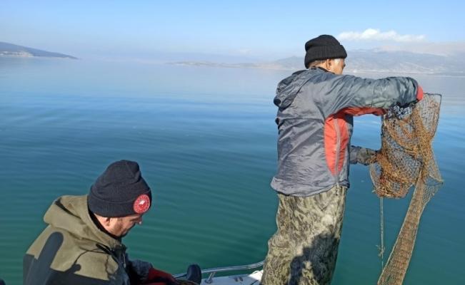 Eğirdir'de kaçak avlanılan 200 kilogram kerevit göle iade edildi