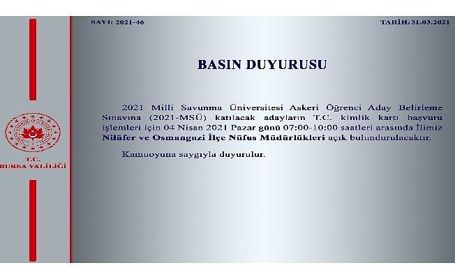Nilüfer ve Osmangazi Nüfus Müdürlükleri pazar günü açık olacak