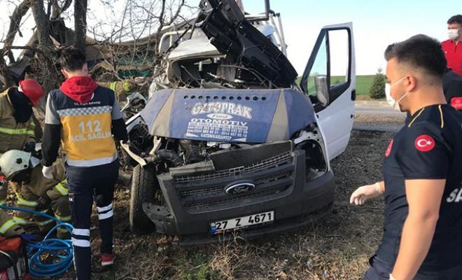 Kamyonet ağaca çarptı: Baba ve kızı yaralandı, anne hayatını kaybetti