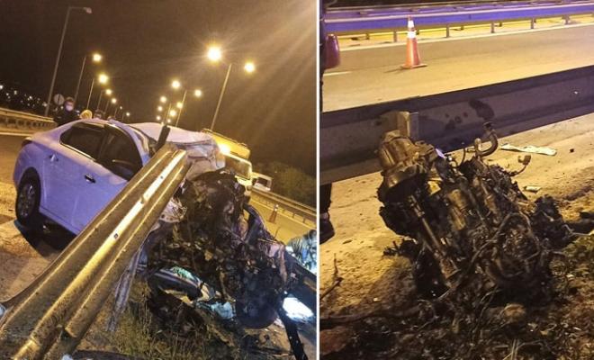 Bariyere çarpan otomobilin motoru yerinden fırladı: 1 ölü