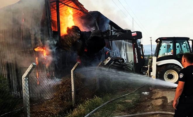 Besi çiftliği yangını; 700 ton saman ve yem kül oldu