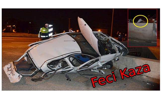 Kaza sırasında araçtan fırlayıp, 7 metre yükseklikten alt geçide düşen sürücü öldü