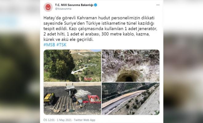 MSB: Suriye sınırında tünel tespit edildi