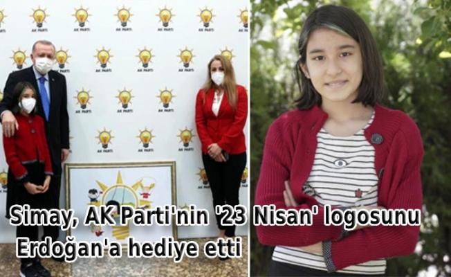 Simay, AK Parti'nin '23 Nisan' logosunu Erdoğan'a hediye etti