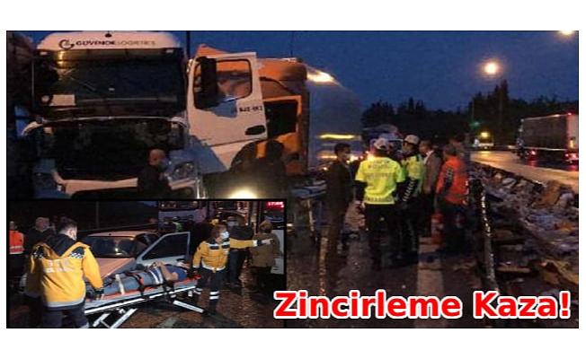 TEM Otoyolu'nda zincirleme kaza: 20 araç birbirine girdi, yaralılar var