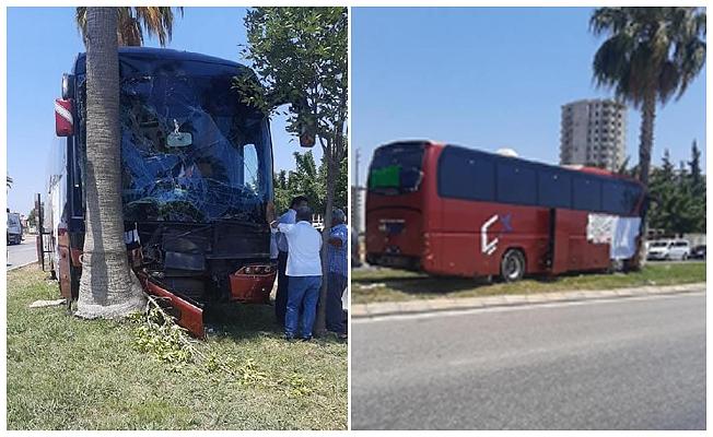 Ağaca çarpan yolcu otobüsünün şoförü öldü, firma ismi çarşafla kapatıldı