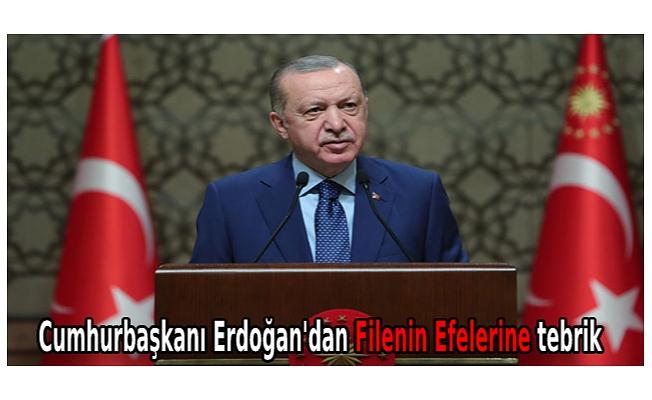 Cumhurbaşkanı Erdoğan'dan Filenin Efelerine tebrik