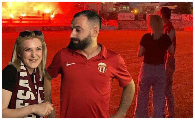 İnegölspor taraftarı gençten sevgilisine stadyumda evlenme teklifi