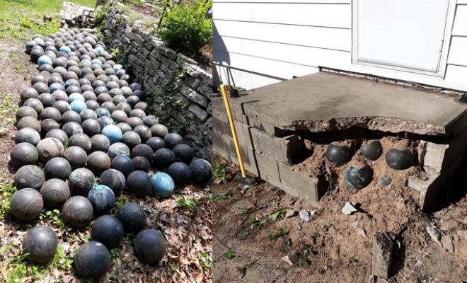 ABD'de evinin merdivenlerinin altında gömülü 160 adet bowling topu buldu