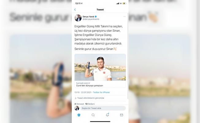 Aile ve Sosyal Hizmetler Bakanı Derya Yanık, engelli güreşçi Sinan Sadak'ı telefonla arayarak tebrik etti