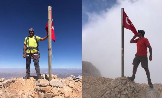 Aladağlar'ın zirvesinde 7 Türk bayrağı