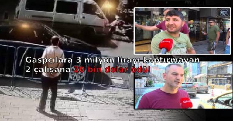 Gaspçılara 3 milyon lirayı kaptırmayan 2 çalışana 20 bin dolar ödül
