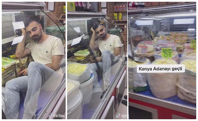 Gıda ürünü bulunan buzdolabına girip, video paylaşan pazarcıya suç duyurusu