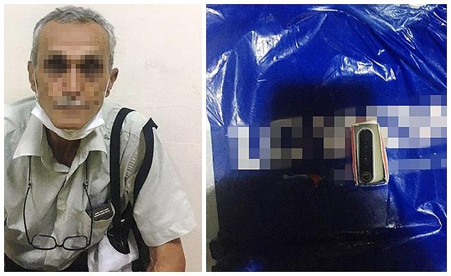 Video ve fotoğraf kaydetmek için özel düzenekli poşetle yakalandı
