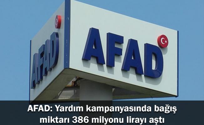 AFAD: Yardım kampanyasında bağış miktarı 386 milyonu lirayı aştı