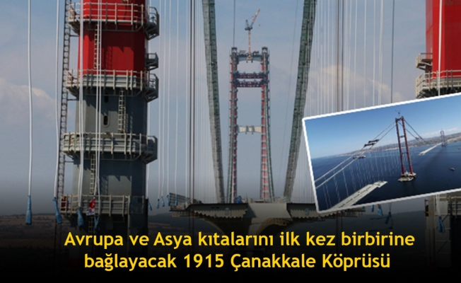 Çanakkale Boğazı'nda Avrupa ve Asya kıtalarını ilk kez birbirine bağlayacak 1915 Çanakkale Köprüsü