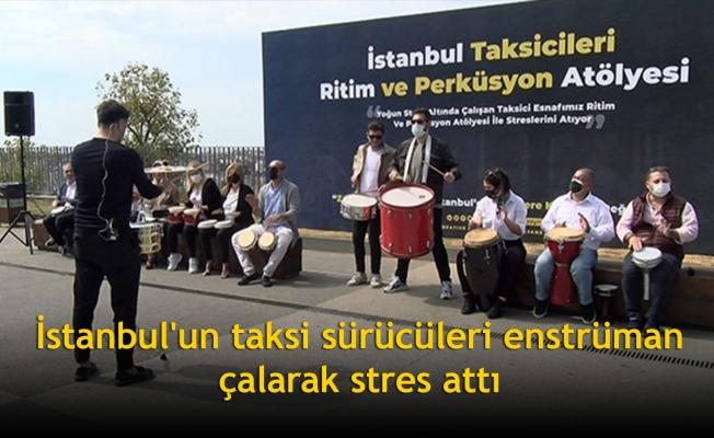 İstanbul'un taksi sürücüleri enstrüman çalarak stres attı