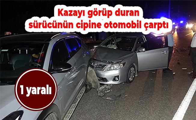 Kazayı görüp duran sürücünün cipine otomobil çarptı: 7 yaralı