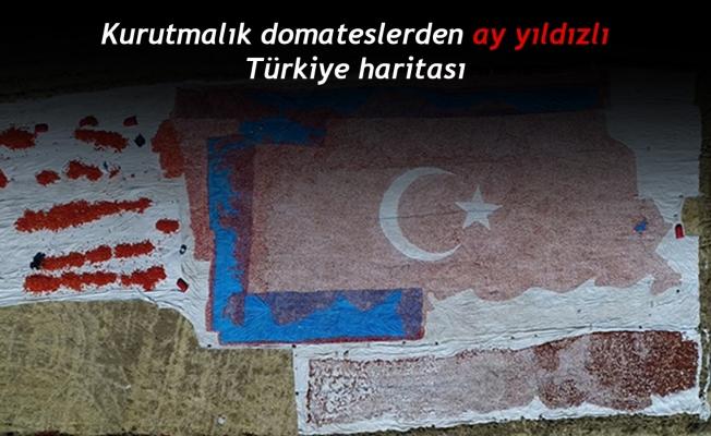 Kurutmalık domateslerden ay yıldızlı Türkiye haritası