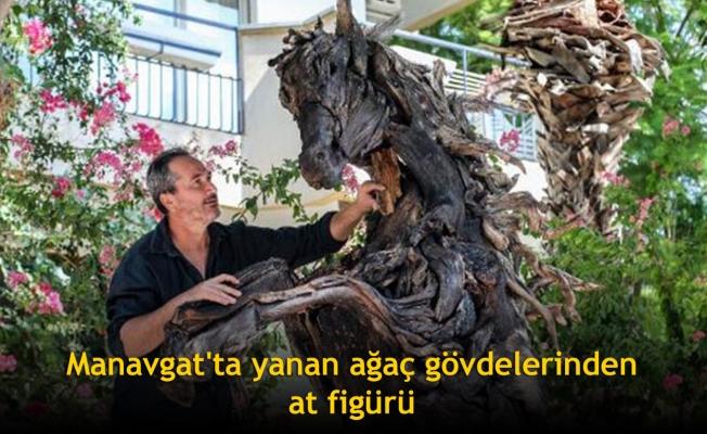 Manavgat'ta yanan ağaç gövdelerinden at figürü