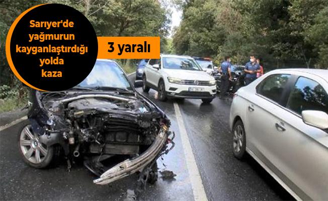 Sarıyer'de yağmurun kayganlaştırdığı yolda kaza: 3 yaralı