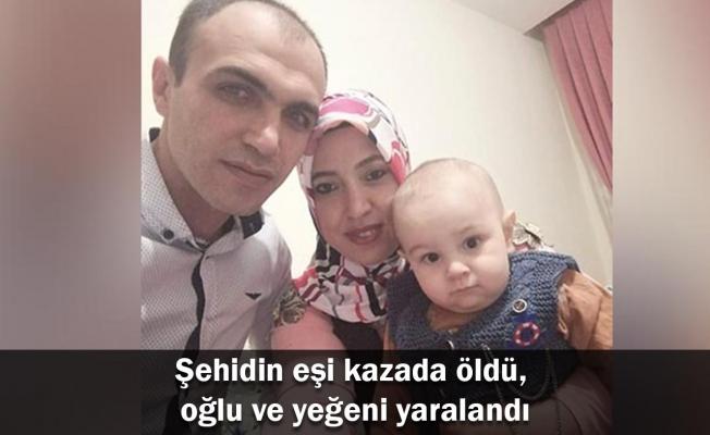 Şehidin eşi kazada öldü, oğlu ve yeğeni yaralandı