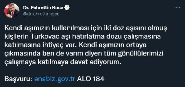 Bakan Koca, vatandaşları'Turkovac' için 'gönüllü' olmaya çağırdı