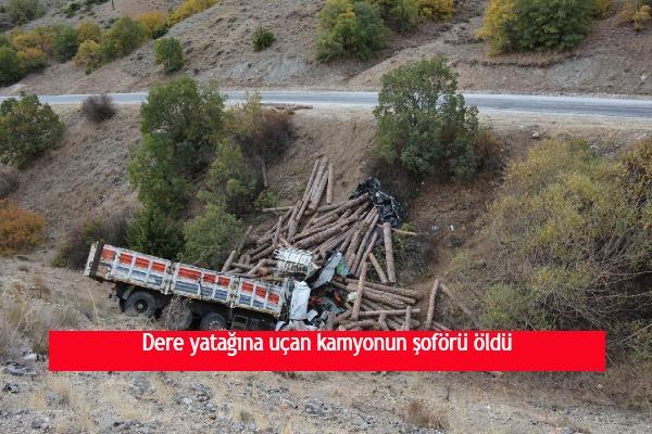 Dere yatağına uçan kamyonun şoförü öldü