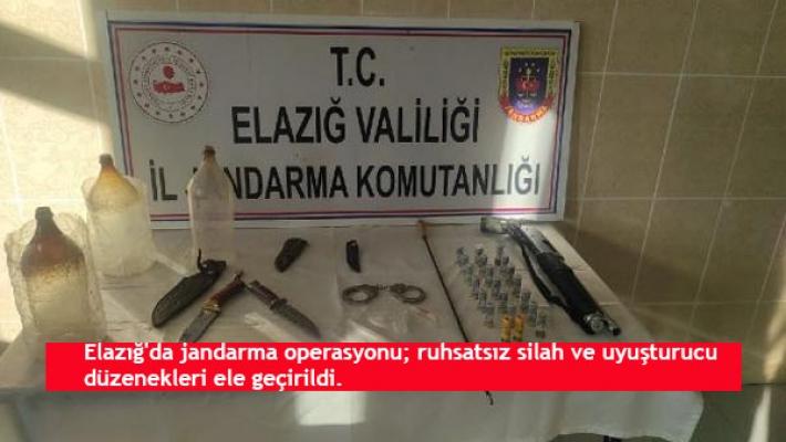 Elazığ'da jandarma operasyonu; ruhsatsız silah ve uyuşturucu düzenekleri ele geçirildi