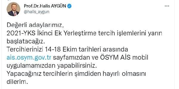 ÖSYM Başkanı Aygün: İkinci ek yerleştirme yarın başlayacak