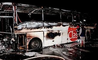Aksaray'da otobüs yangını!