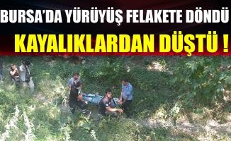 Bursa'da 30 metrelik kayalıktan düşen genci itfaiye kurtardı