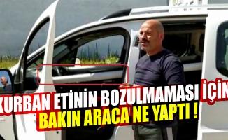 Bursa'da kurban etinin bozulmaması için aracına soğutma sistemi kurdu