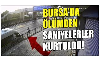 Bursa'da ölümden saniyelerle kurtulan işçinin o anları kamerada