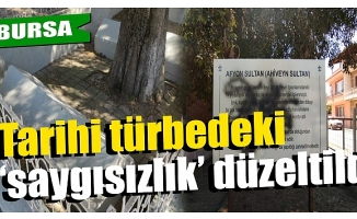 Bursa'da tarihi türbedeki sprey boyalı tahribat giderildi