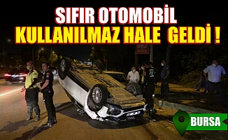 Bursa'da başka bir aracın sıkıştırdığı sıfır otomobil takla attı, 2 kişi yaralandı