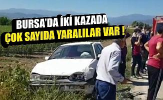 Bursa'nın İnegöl ilçesinde meydana gelen iki kazada 9 kişi yaralandı.