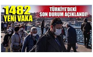 Türkiye'de son 24 saatte 1482 yeni vaka!