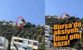 Bursa'da yoldan çıkan kamyonet uçurumda askıda kaldı