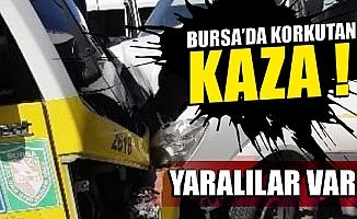 Bursa'da servis ile minibüs kafa kafaya çarpıştı: 4 yaralı