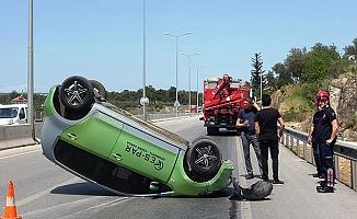 Aracının takla attığı kazada yaralanmayan sürücü: Kemerim takılıydı